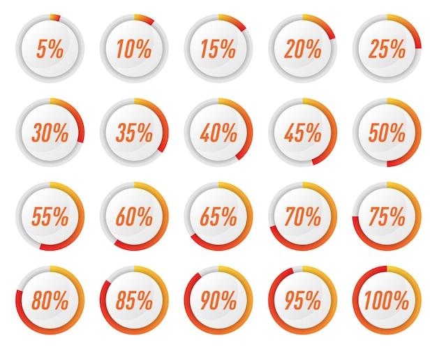 인포 그래픽에 대한 주황색 원 백분율 다이어그램 모음 프리미엄 벡터