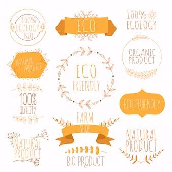 有機、自然、バイオ、環境にやさしい製品のオレンジ色のラベルとバッジのコレクション。ビンテージベクトル、緑の色。