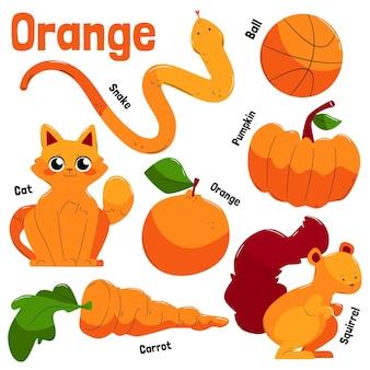 오렌지 개체 및 영어 어휘 모음
