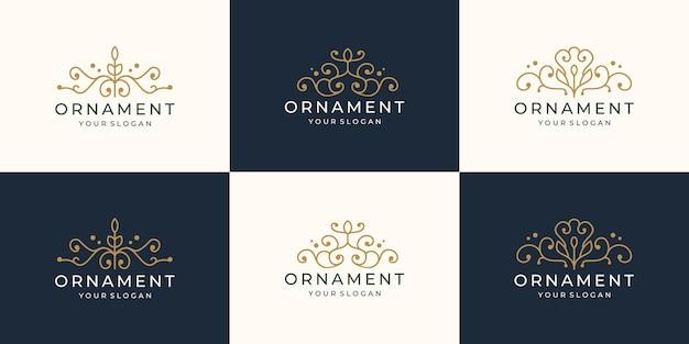 装飾ロゴデザインのコレクション。創造的な豪華な線形スタイルの装飾的なロゴのインスピレーションを設定します。