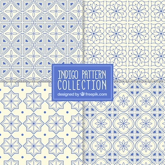 Collection of ornamental mosaic patterns in blue color