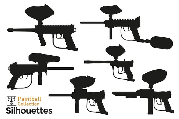 ペイントボール銃のシルエットのコレクション。孤立した拳銃のアイコンのセットです。