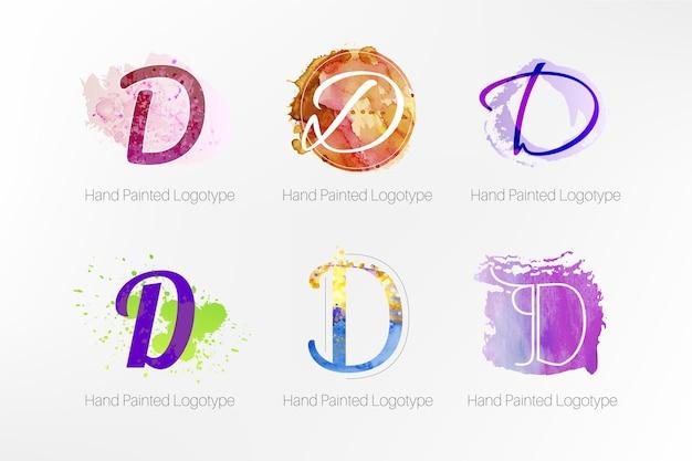 그린 된 d 로고 컬렉션 무료 벡터