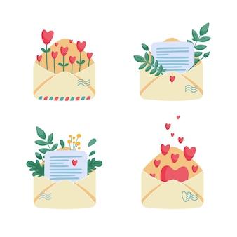 Коллекция бумажных конвертов с письмами, записками, цветами и сердечками внутри.