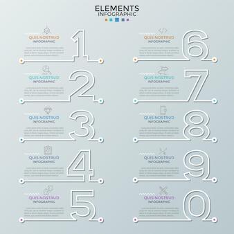 Коллекция бумажных белых контуров чисел с линейными значками и текстовыми полями. концепция визуализации списка или бизнес-плана. современный инфографический шаблон дизайна. векторная иллюстрация для брошюры.