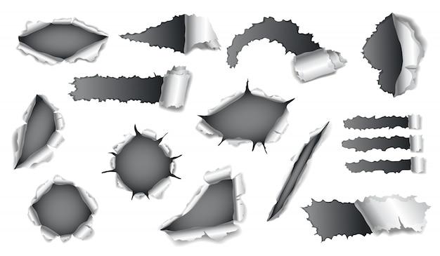 배경에 회색 종이와 논문 구멍의 컬렉션입니다. 가장자리가 찢어진 사실적인 찢어진 종이. 접힌면이있는 손상 용지