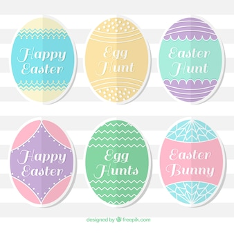 Collection of pastel easter egg stickers
