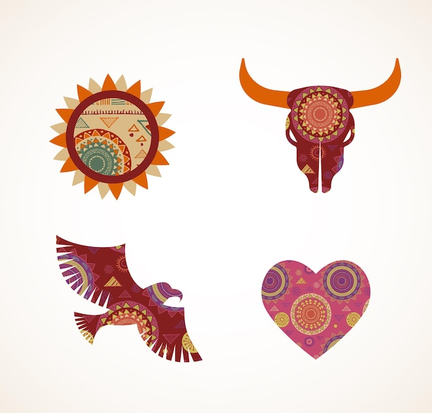 Коллекция богемных племенных икон с рисунком