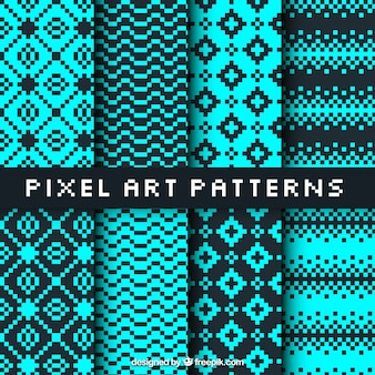 Collection of patterns in pixel art style