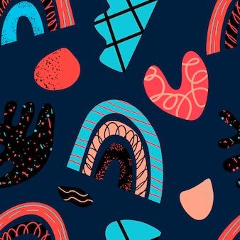 세련된 스칸디나비아 거리에서 손으로 만든 장식적인 디자인 요소의 패턴 모음