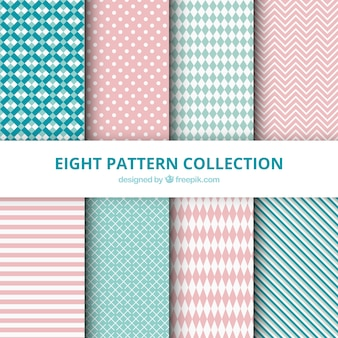 Collection of patterns with abstract drawings