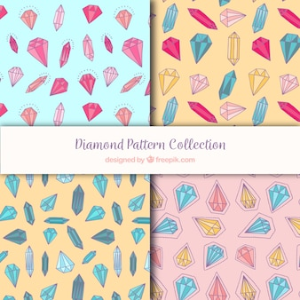 Collection of patterns with diamonds in different colors