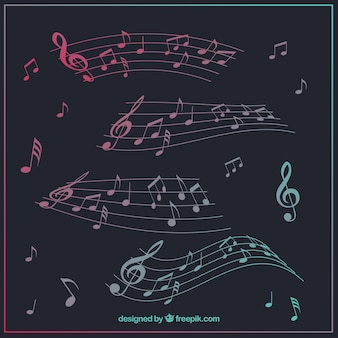 Коллекция пентаграммы с музыкальными нотами
