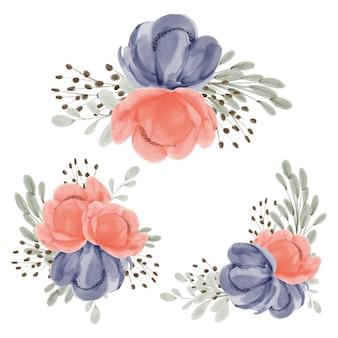 모란 꽃꽂이 수채화 세트 컬렉션