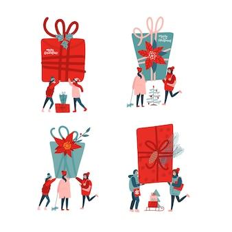 クリスマスイラストを祝う人々のコレクション