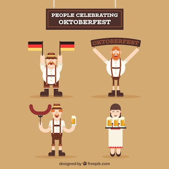 Collection of people celebrating oktoberfest in flat design