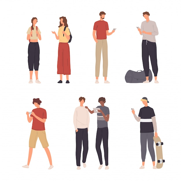 フラットなデザインで彼らのスマートフォンでさまざまな活動を行う人々キャラクターイラスト集