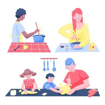台所で料理をしている人のコレクション