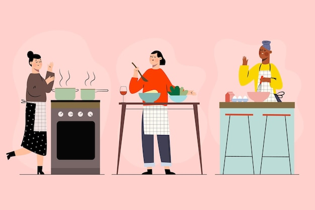 Коллекция людей, готовящих свою любимую еду