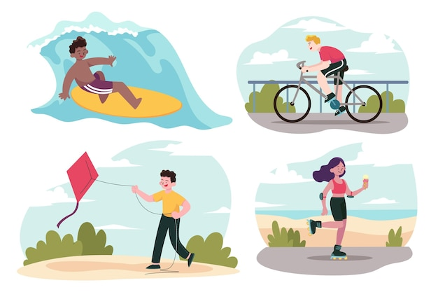 여름 스포츠를하는 사람들의 컬렉션