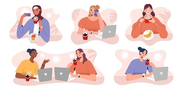 カフェ、女性フリーランサー、漫画のキャラクターでコーヒーを飲む人々のコレクション