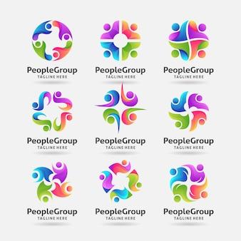 Коллекция людей группы дизайн логотипа