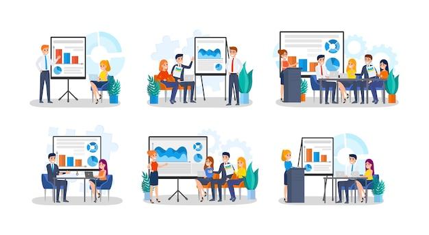 Коллекция людей, делающих бизнес-презентацию