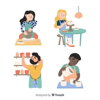 Коллекция людей, делающих глиняную посуду