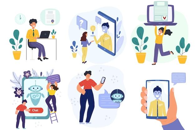 노트북, 휴대 전화-다른 장치를 사용하여 온라인 사람들의 컬렉션입니다. 인터넷을 서핑하고 챗봇과 이야기하는 남자와 여자의 집합입니다. 최신 유행 플랫 디자인 개념. 삽화