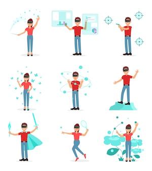 Vr 헤드셋, 흰색 배경에 가상화 기술 그림을 사용하는 사람과 가상 현실에서 비디오 게임을하는 사람들의 컬렉션