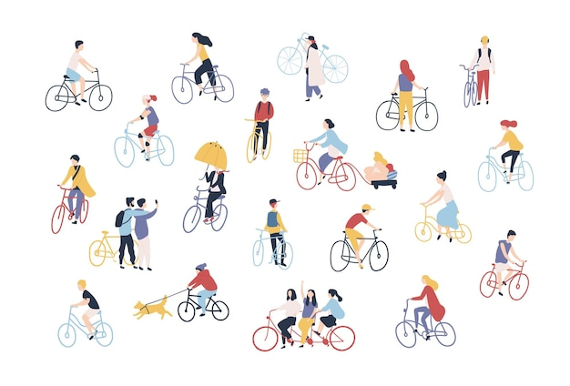도시 거리에서 자전거를 타는 사람들의 컬렉션입니다. 흰색 배경에 격리된 자전거를 탄 남자, 여자, 어린이 묶음. 야외 활동 세트입니다. 만화 스타일의 다채로운 벡터 일러스트 레이 션.