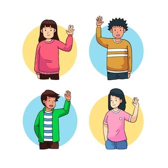 손을 흔드는 사람들의 컬렉션