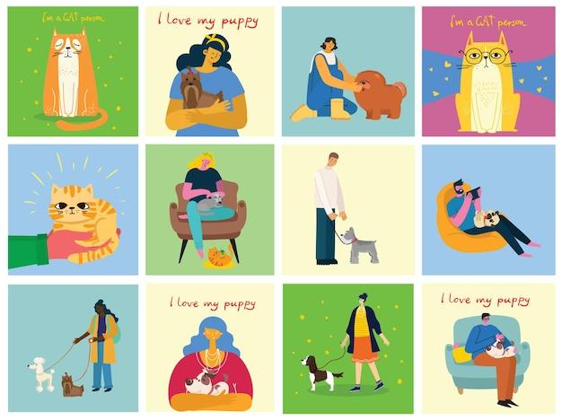 애완 동물을 가진 사람들의 컬렉션입니다. 가축을 안고 있는 남성과 여성의 집합입니다. 남성과 여성의 평면 만화 캐릭터 묶음. 다채로운 벡터 일러스트 레이 션.