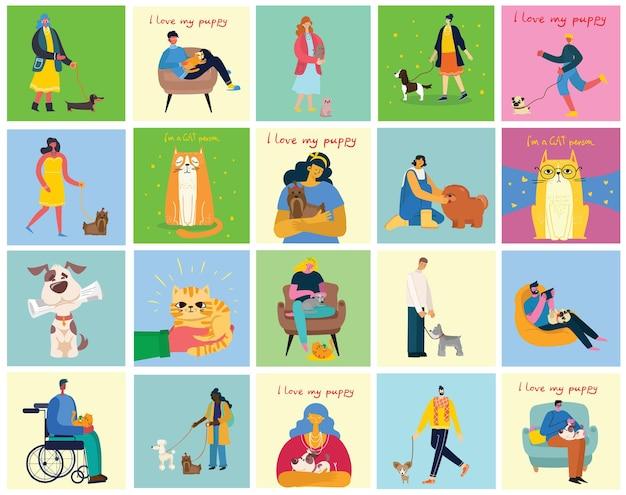 애완 동물을 가진 사람들의 수집. 그들의 가축을 들고 남자와 여자의 집합입니다. 남성과 여성의 평면 만화 번들.