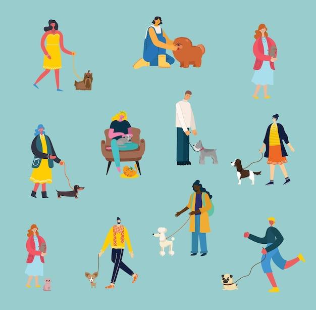 ペットを飼っている人のコレクション。彼らの家畜と男性と女性のセット。