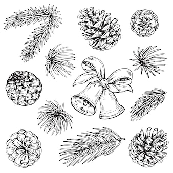 Коллекция сосновых шишек и рождественских колокольчиков