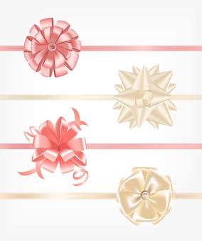 리본으로 장식 된 분홍색과 베이지 색 새틴 리본 컬렉션