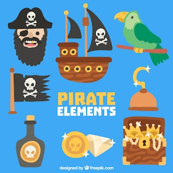 他のオブジェクトと海賊とオウムのコレクション