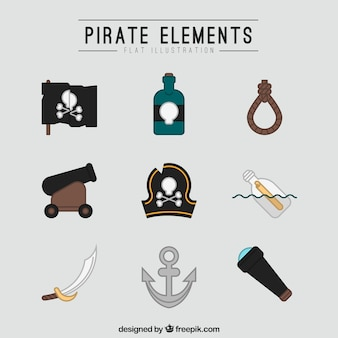 Коллекция пиратских элементов в плоском дизайне