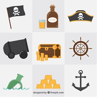 Collection of pirate objects in flat design
