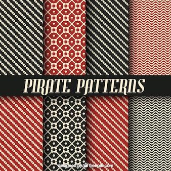 Коллекция пиратских узоров с абстрактными формами