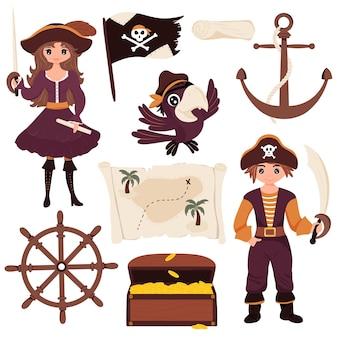 해적, 해적, 앵무새, 보물 지도, 보물 상자, 해골 깃발, 스티어링 휠, 닻의 컬렉션입니다. 격리 된 흰색 배경입니다. 어린이 벡터 일러스트 레이 션 평면 만화 스타일.