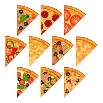 Сбор кусочков пиццы. изолированные на белом.