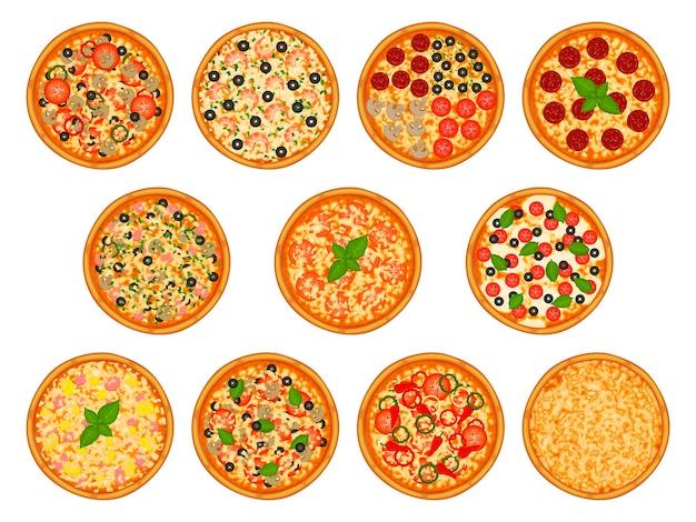 さまざまな食材を使ったピザのコレクション。