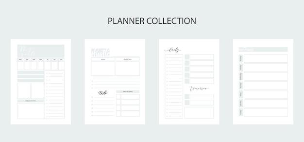 생활과 비즈니스를 위한 플래너 모음, 플래너 시트, 개인 및 업무 문제를 위한 organizer