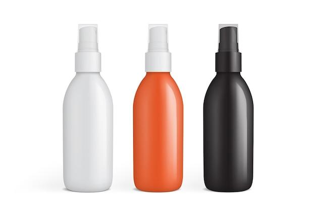 白で隔離のプラスチックスプレーボトルのコレクション