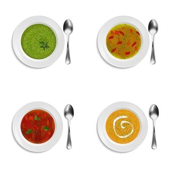 スープとクリームスープのプレートのコレクション。緑と装飾が施されています。白い背景の上の孤立したオブジェクト。リアルなスタイル。ベクトルイラスト。