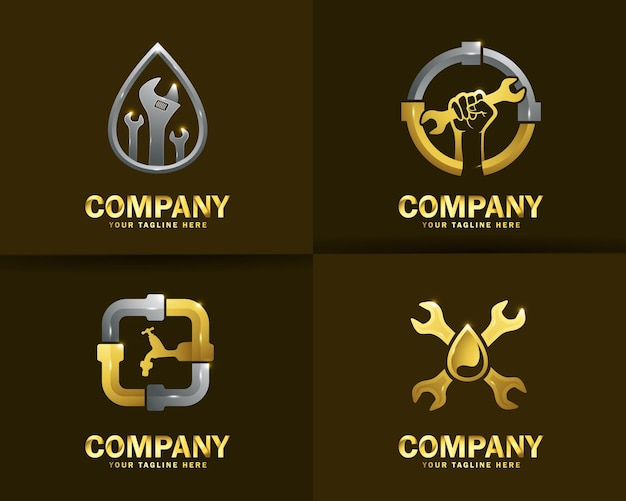Коллекция шаблонов дизайна логотипа сантехнических услуг