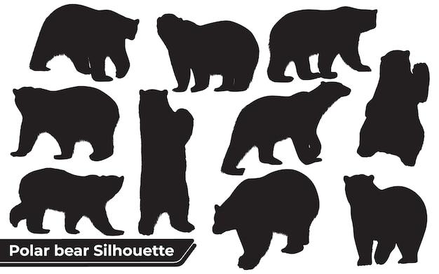 さまざまな位置にあるシロクマのシルエットのコレクション