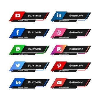 Коллекция популярных дизайнов социальных сетей в нижней трети